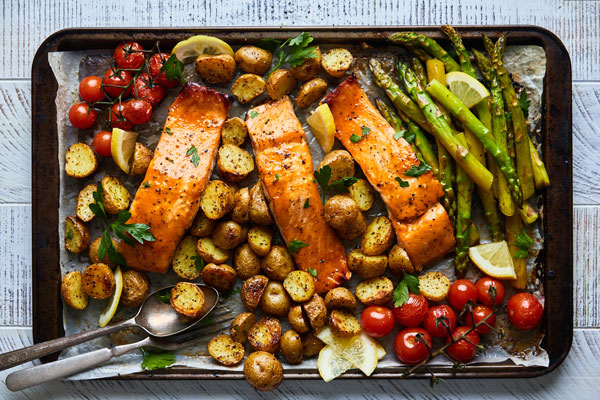 Sheetpan Salmon and Potatoes With Veggies