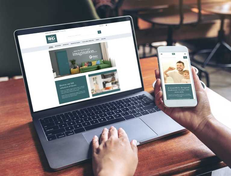 person using website on multiple devices