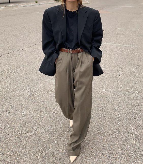 Pantalon large long uni