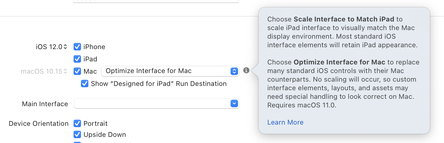 Xcode Selector for Catalyst Idiom