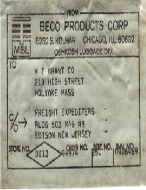 Beco Products Shipping Label (1966) preview