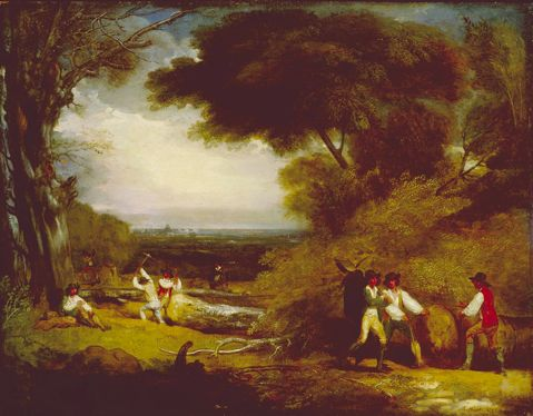 Benjamin West (1738-1820), Woodcutters in Windsor Park. Public Domain