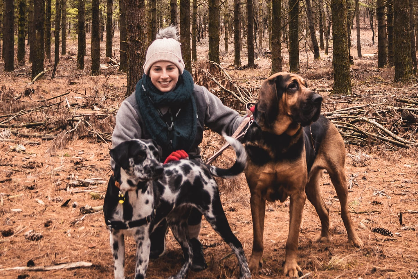 Kerry Stilling with her dogs