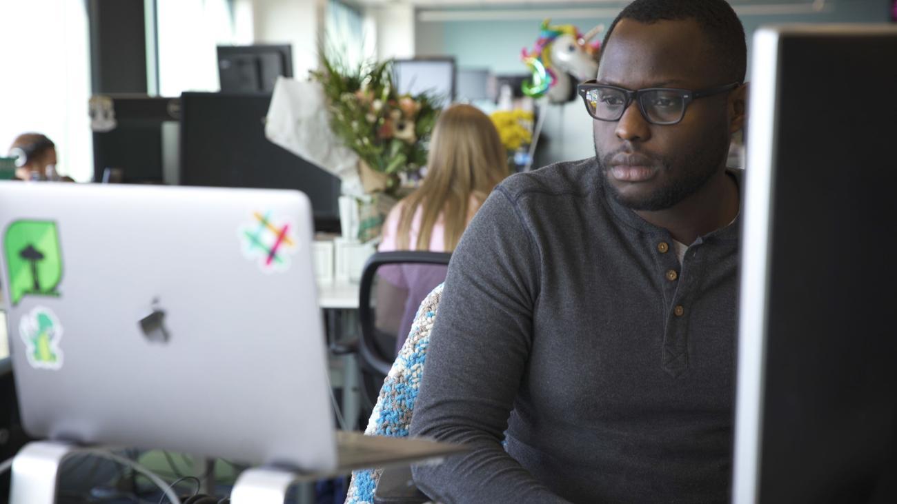 Person using a desktop computer