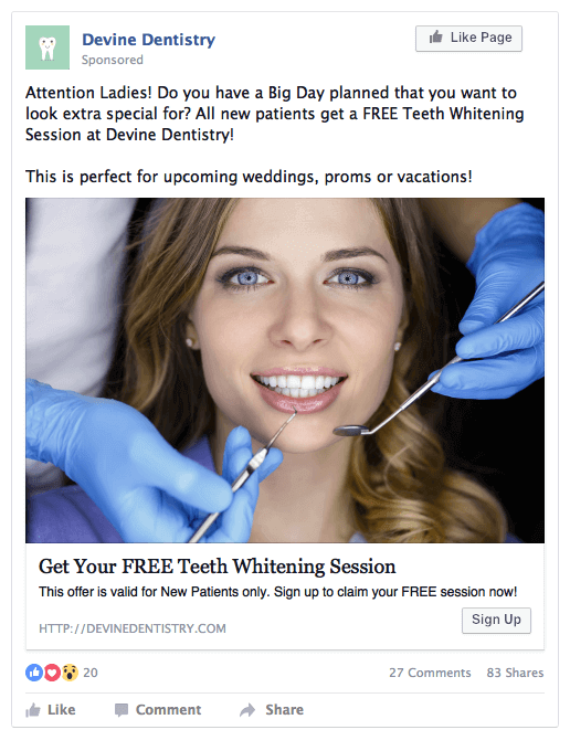 Example of Healthcare Facebook ads