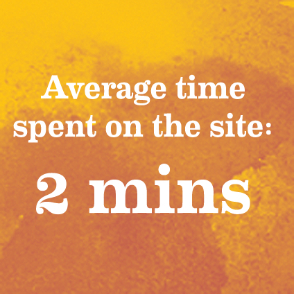 Average time spent on the site: 2 mins