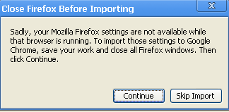 Error when trying to import Firefox settings.