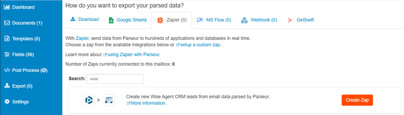 Export parsed data to Zapier