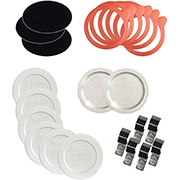 Wecks combo pack with clips, seals, glass tops, and plastic tops.