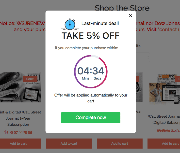 4 countdown timer exit intent popup