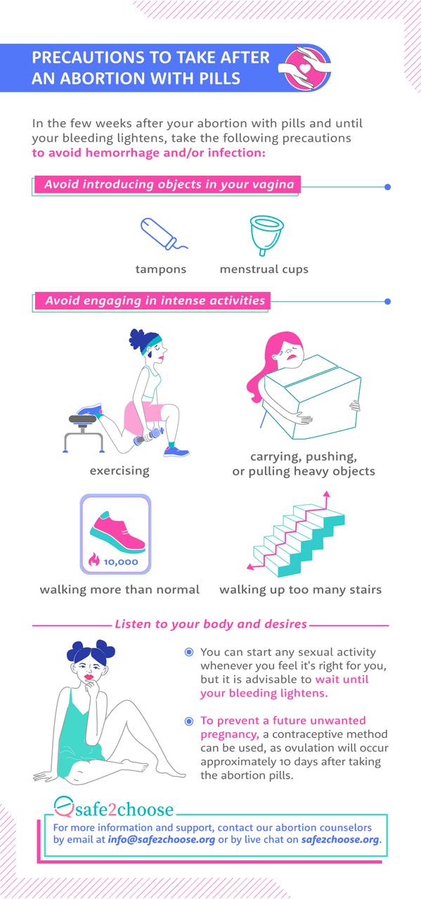 precautions to take abortion pills
