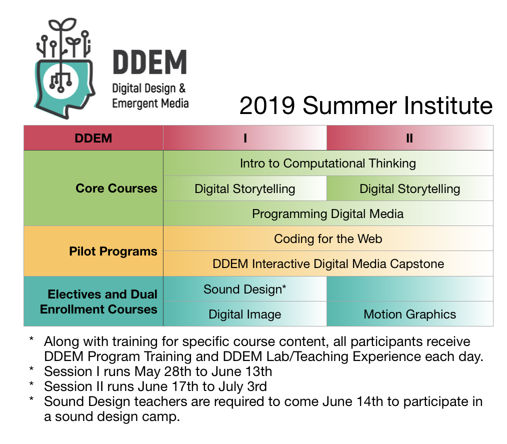 DDEM 2019 Summer Institute Overview