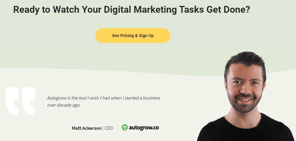 Digital marketing signup