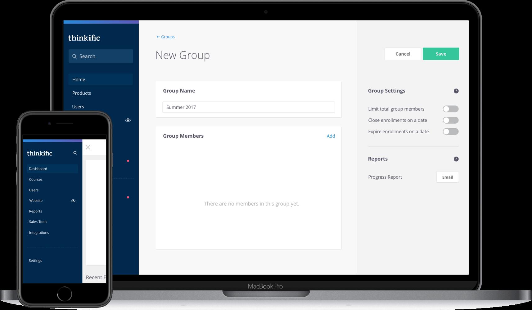Thinkific app interface example