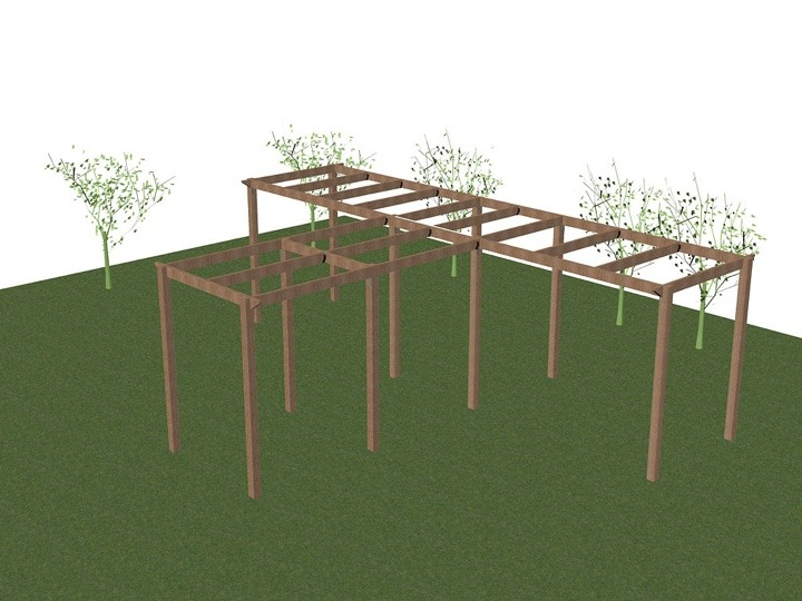 A 3D CAD drawing of a bespoke pergola plan