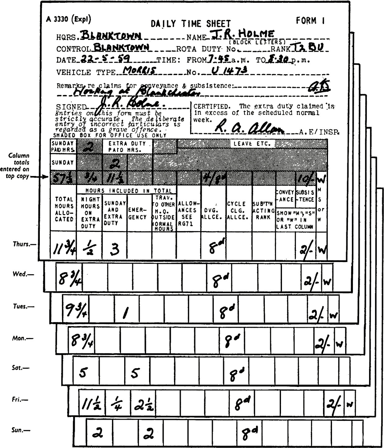 """Stacked DAILY TIME SHEET one for each day of the week. Form Thursday. HQRS.: Blanktown. Name: J.R. Holme (block letters). Control: Blanktown. Rota Duty No., blank field. Rank: T2 BU. Date: 22-5-59. Time: From 7.45a.m, TO 8.30p.m. Vehicle type: Morris. No.: U1473. Remarks re claims for conveyance & subsistence: working at blank(unreadable). Signed: (Signature) J.R. Holme. Entries on this form must be strictly accurate. The deliberate entry of incorrect particulars ts regarded as a grave offence. CERTIFIED. The extra duty claimed """"ts: in excess of the scheduled normal week. Signed: R. A. Allan. A.E/INSP. Sunday paid HRS.: 2. Sunday: 57 1/2. Total hours allocated: 11 3/4. Night hours on extra duty: 1/2. Sunday an extra duty: 3. Trav. to other H.Q. outside normal hours, blank field. Allowances see RG71, blank fliend. DVG. Allce.: 8d Cycle Clg. Allice., blank field. Sub't'n acting rank, blank field. Form Wednesday, total hours: 8 3/4. Form Tuesday, total hours: 9 3/4. Form Monday, total hours: 8 3/4. Form Saturday, total hours: 5. Form Friday, total hours: 11 1/2. Night hours: 1/4. Sunday and extra duty: 2 1/2. Form Sunday, total hours 2. Sunday and extra duty: 2. Each day has DVG. Allce. as 8d."""