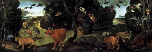 """Piero di Cosimo, """"L'incendio nella foresta"""" (olio su tavola, 1500-1505)"""