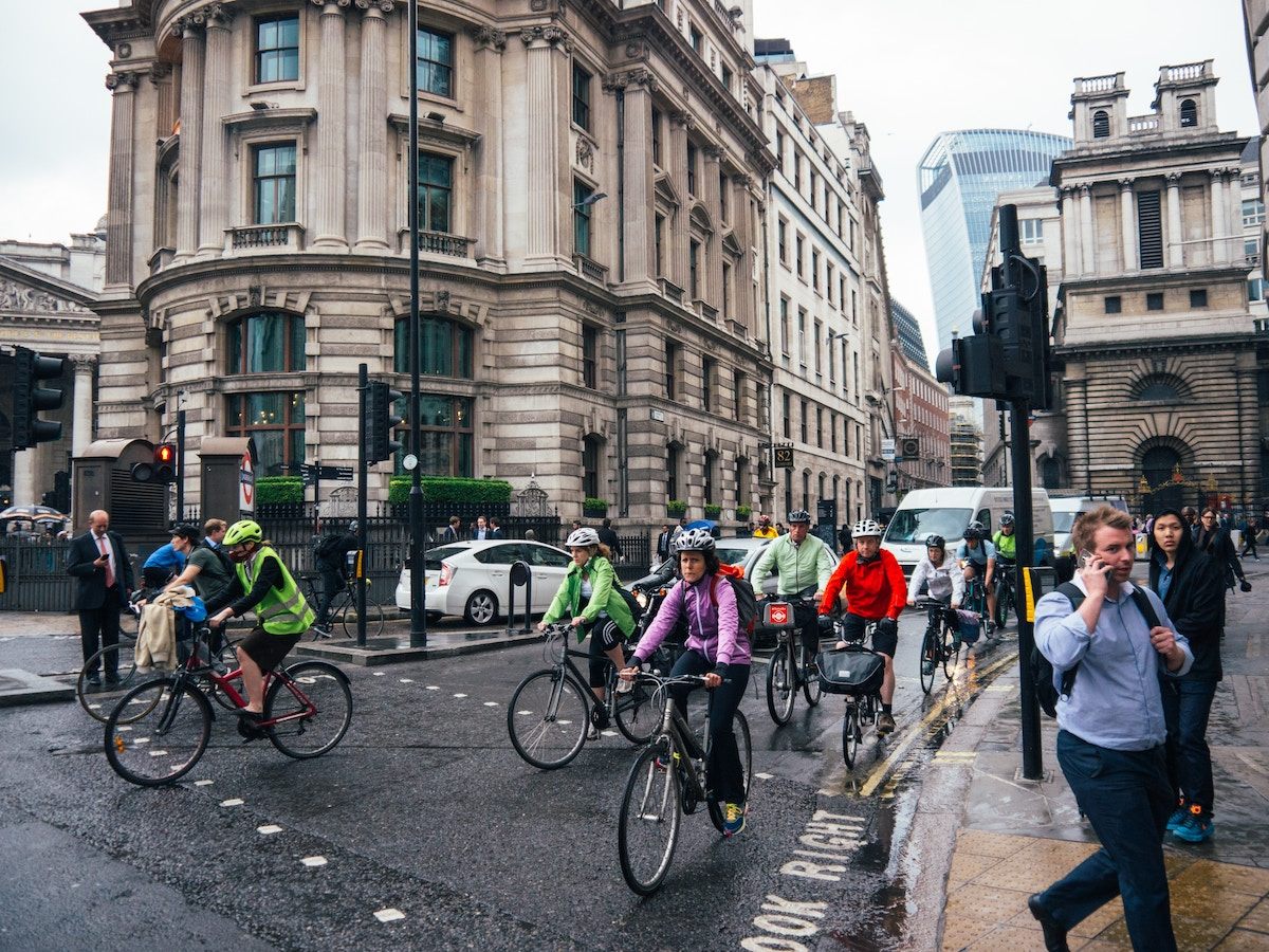 A large group of Bikes on the streets of London.