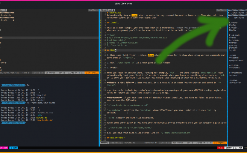 tmux-hints.sh: The auto cheatsheet for vim, zsh, tmux etc. Featured Image