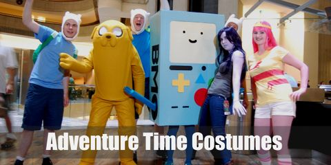 Costumes Guides for Finn the human, fionna the human, bmo, cake the cat, flame princess, gunter, ice king, ice queen, jake the dog, lumpy space princess, marceline, marshall lee and princess bubblegum