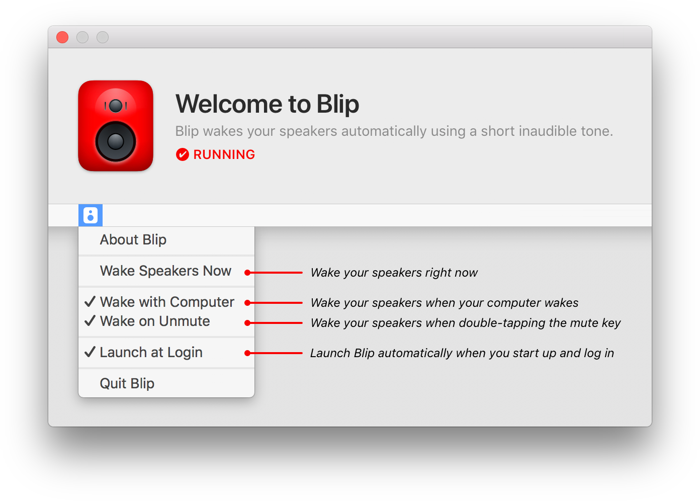 Blip's welcome screen, showing its menubar menu and a description of each feature.