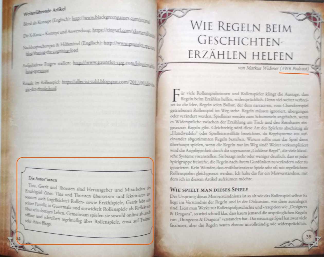 Letzte Seite mit Anfang des 3W6-Essays
