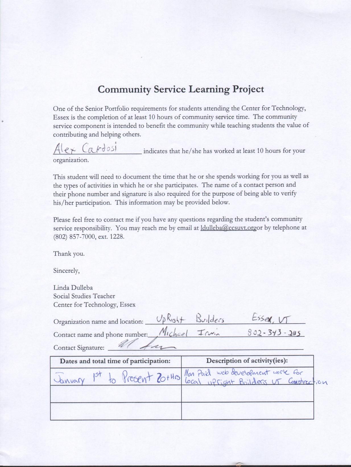 Community Service Proof