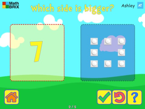 Compare numerals and sets of objects, up to 10 Math Game