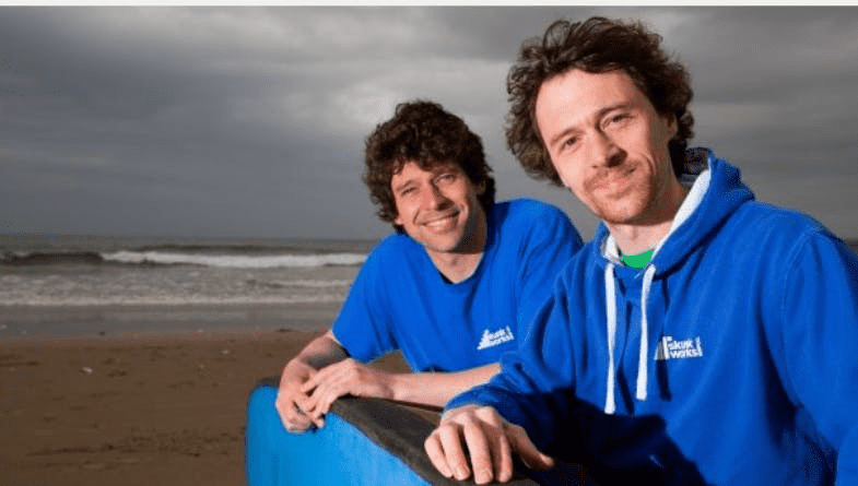 Team at Skunkworks smile for camera on a beach with cloudy weather as surf brand business joins Futrli #entrepreneur