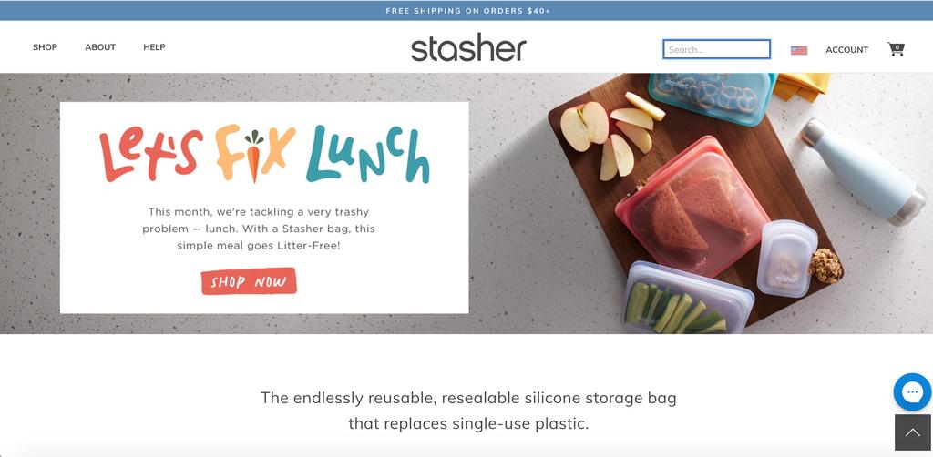 Stasher Bag homepage