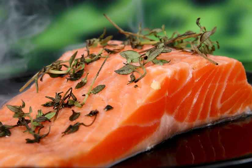Image of fat rich raw salmon
