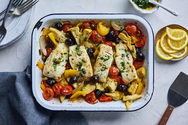 Mediterranean Style Baked Cod