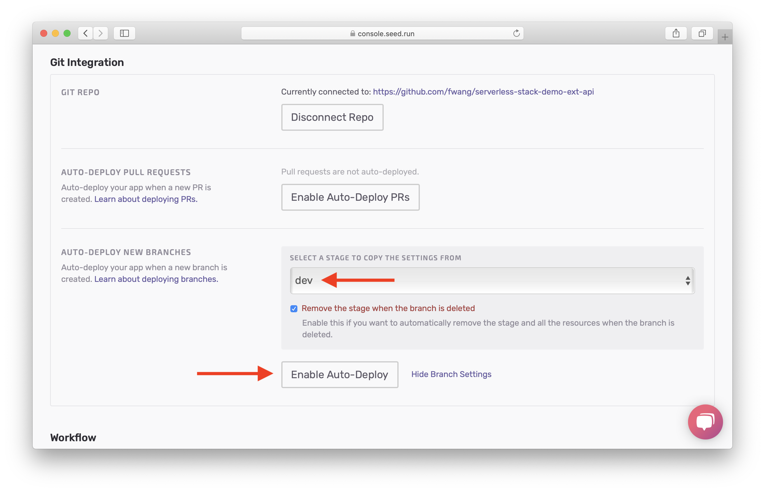 Select Enable Auto-Deploy