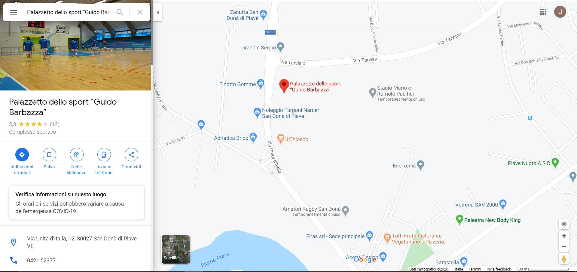 mappa palazzetto dello sport Guido Barbazza San Dona di Piave