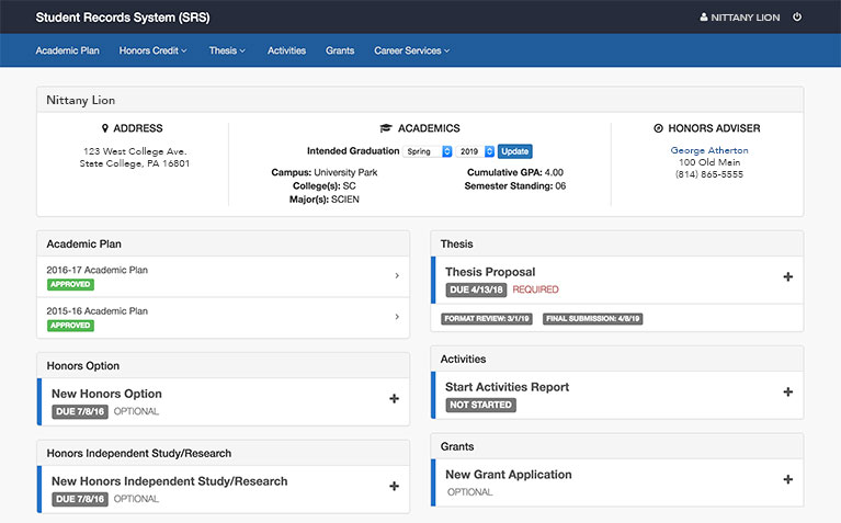 Schreyer Honors College Student Records System dashboard