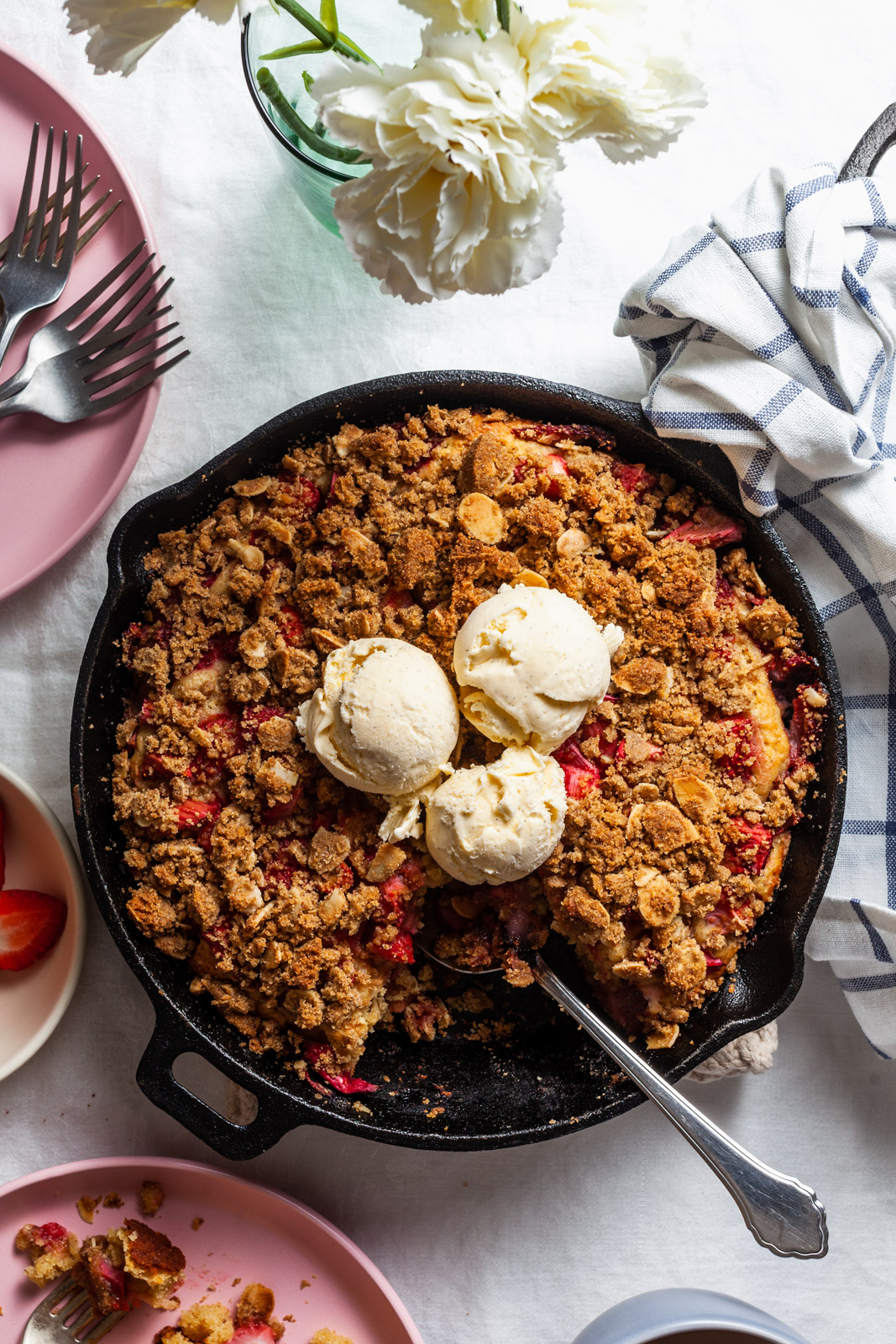 Strawberry Rhubarb Ricotta Skillet Buckle