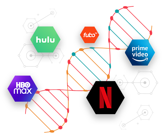 an illustration of DNA with streaming services logos