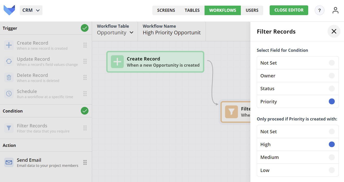 Create Workflow Filter Records settings for List field