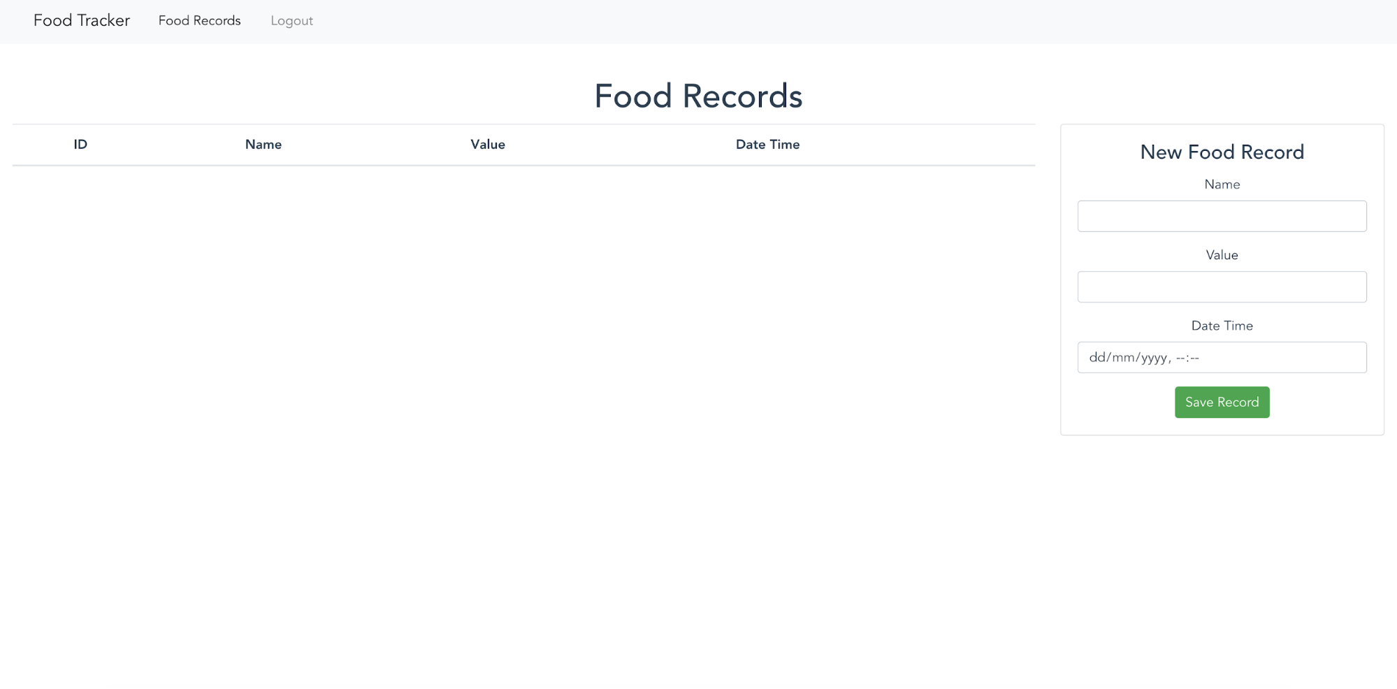 Food Tracker food records page