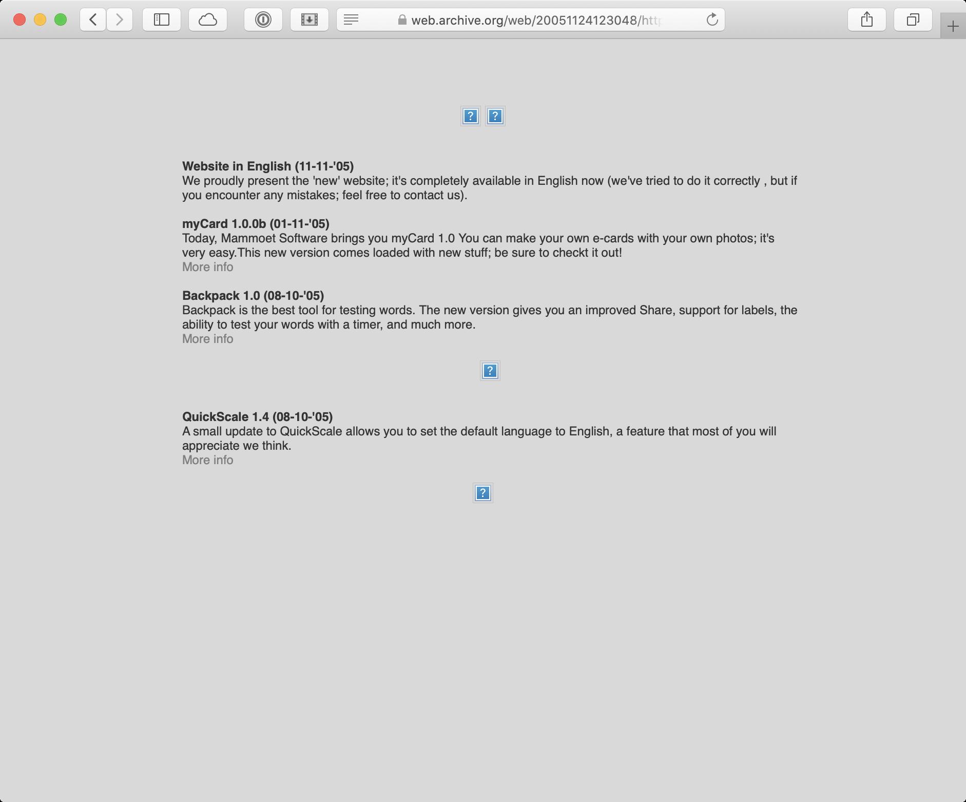 Initial website Mammoet Software 2005