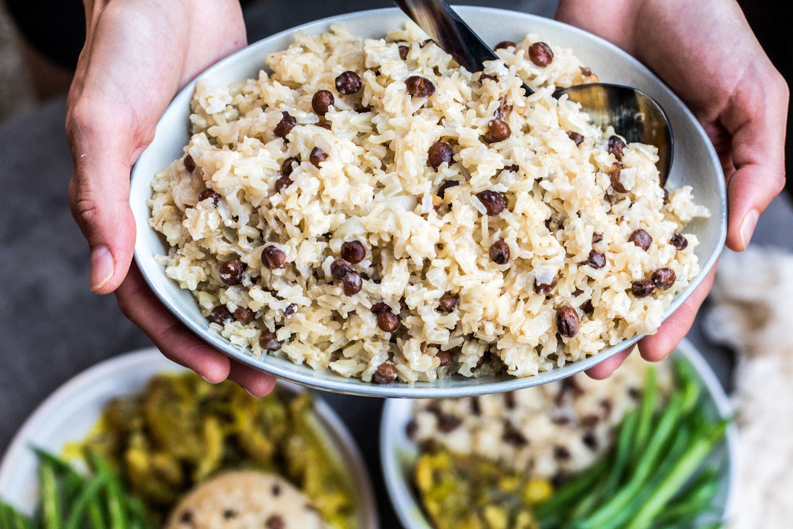 Caribbean style coconut rice with pigeon peas