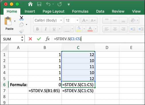 A Microsoft Excel worksheet showing the STDEV function being used