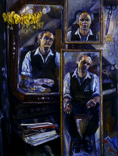 painting of dark interior with seated artist reflected in three mirrors