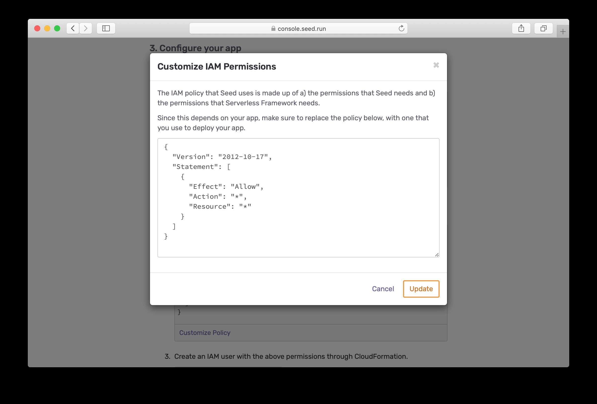 Customize Serverless Framework IAM permissions screenshot