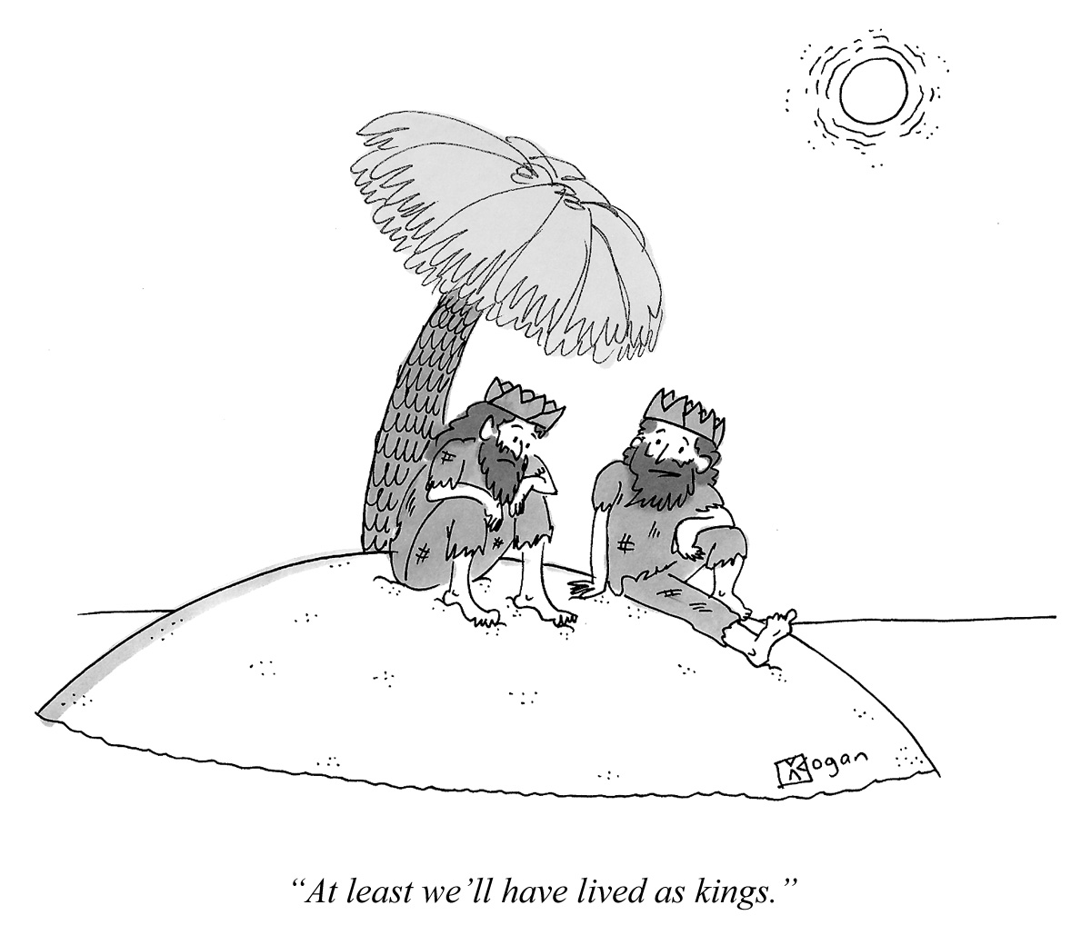 Cartoon about living as kings on a desert island.