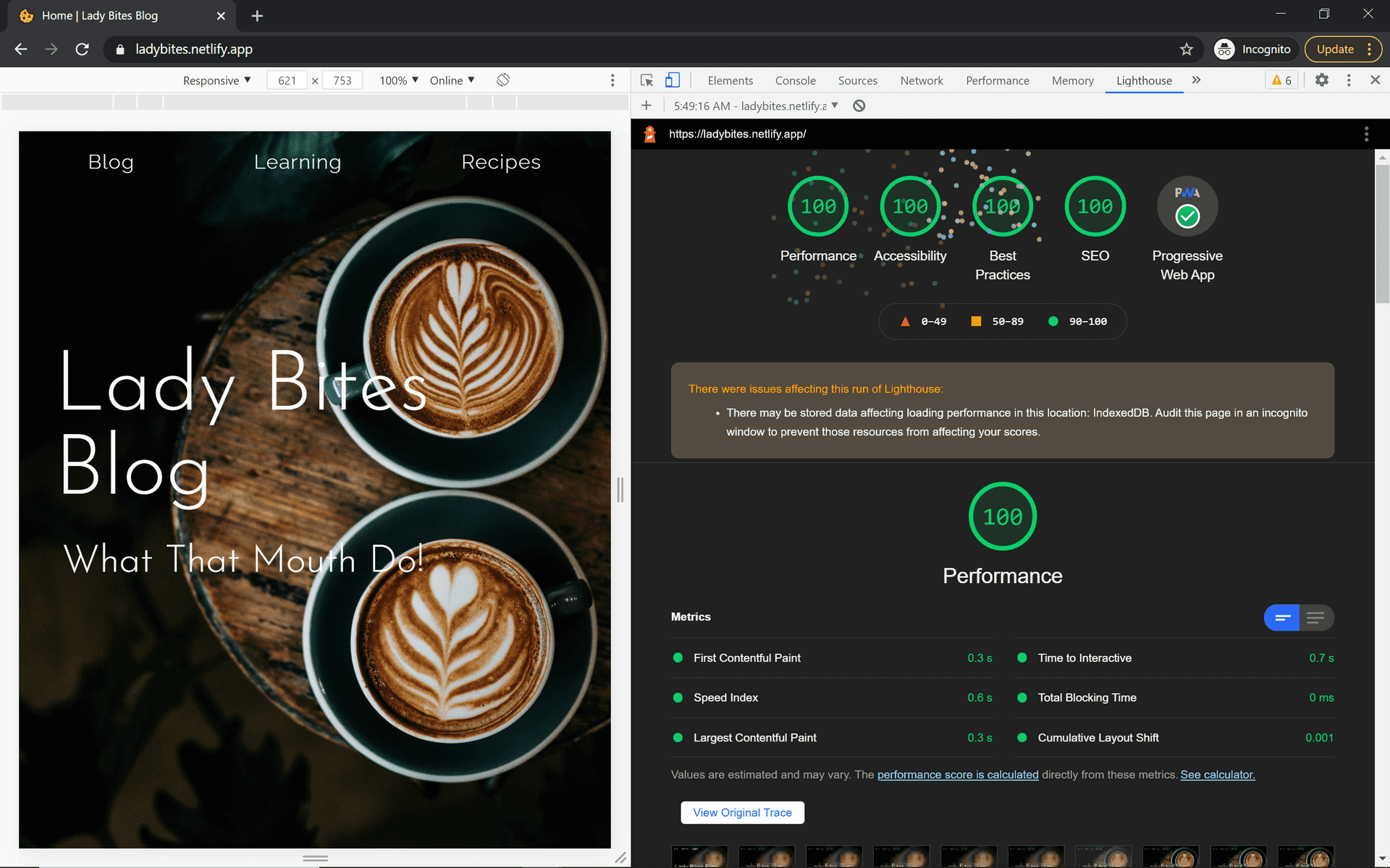 Lady Bites Blog Landing Page w/ Perfect Google Lighthouse Scores in other panel