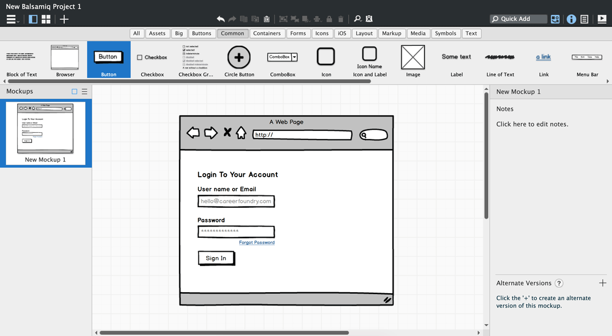 Low-fidelity wireframe of a website interface on Balsamiq