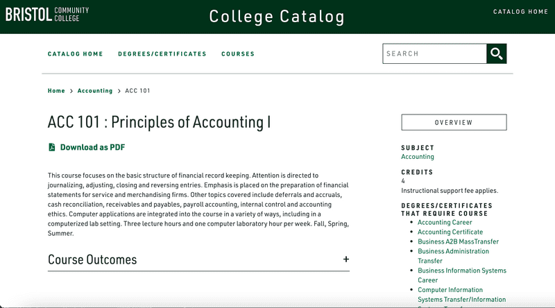 A course page on Bristol's new course catalog site, built with Clean Catalog