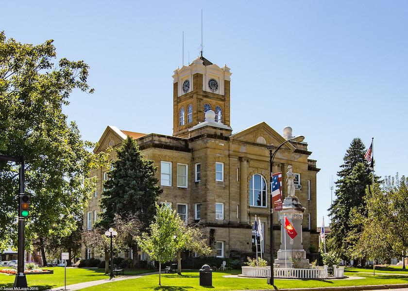 Monroe county courthouse in Albia Ohio USA. Photo by Jason McLaren.