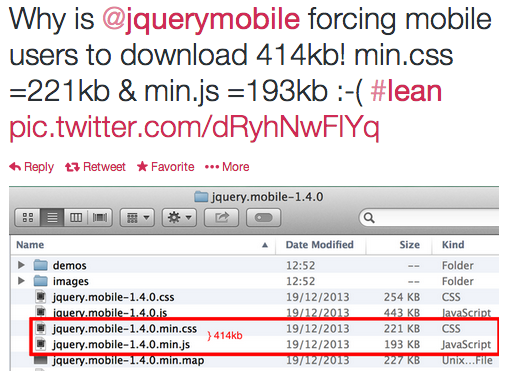 View of Twitter discussion of the size of the jQuery Mobile library